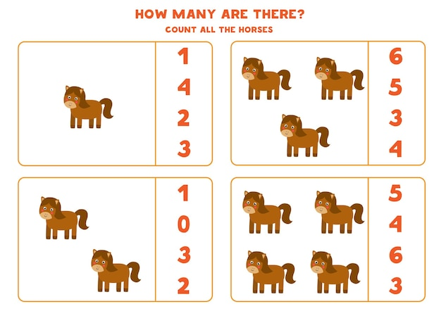 Tel alle boerderijpaarden en omcirkel de juiste antwoorden. rekenspel voor kinderen.
