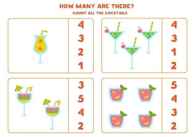 Tel alle cocktails en omcirkel de juiste antwoorden. rekenspel voor kinderen.