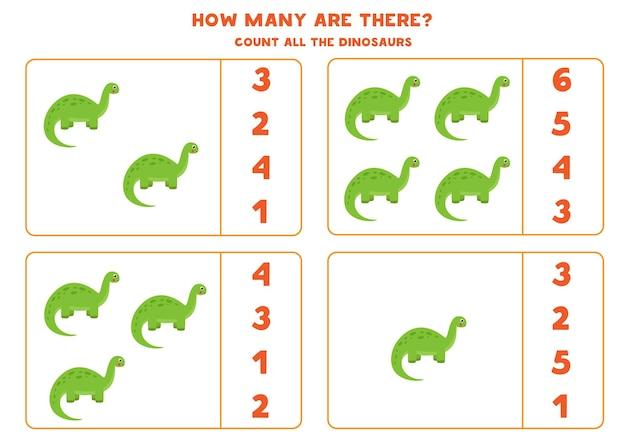 Tel alle dinosaurussen en omcirkel het juiste antwoord. rekenspel voor kinderen.