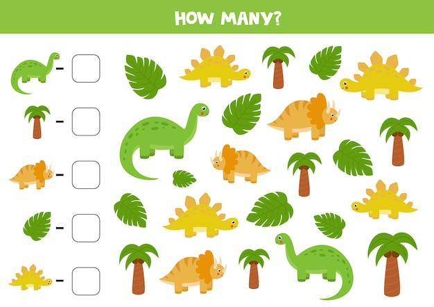 Tel alle dinosaurussen en schrijf het juiste antwoord in het vak. rekenspel voor kinderen.