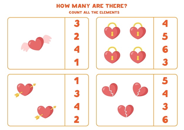 Tel alle harten. rekenspel voor kinderen. werkblad tellen voor kleuters.