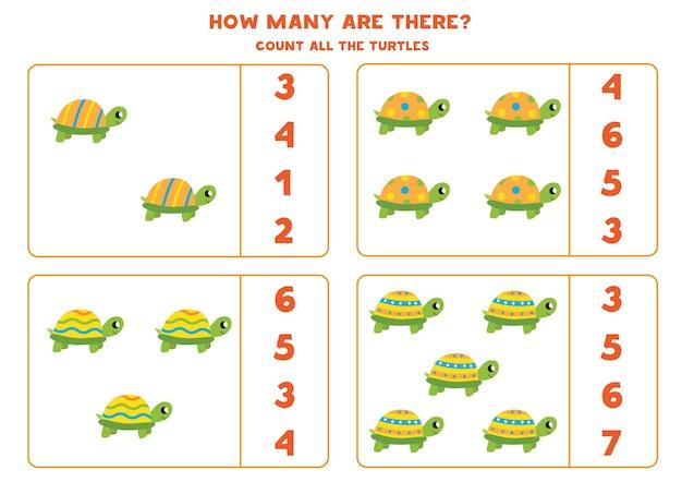 Tel alle kleurrijke schildpadden en omcirkel de juiste antwoorden. rekenspel voor kinderen.