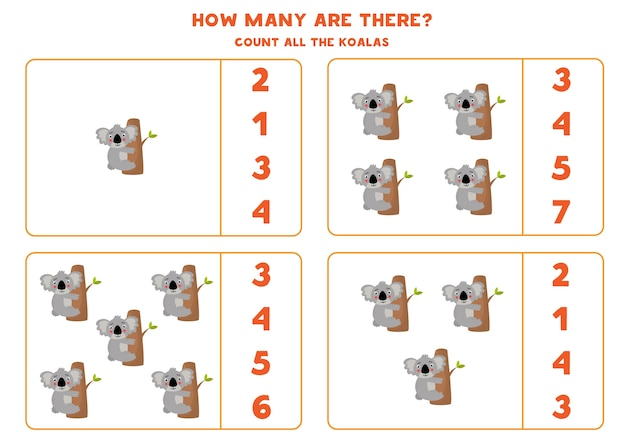 Tel alle koala's en omcirkel het juiste antwoord rekenspel voor kleuters