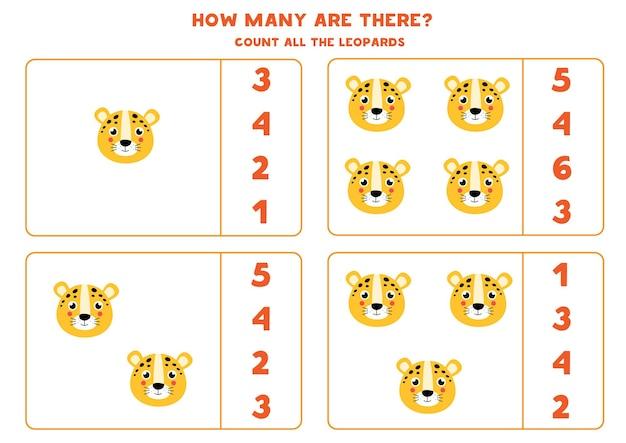 Tel alle luipaarden en omcirkel het juiste antwoord. educatief rekenspel voor kinderen.
