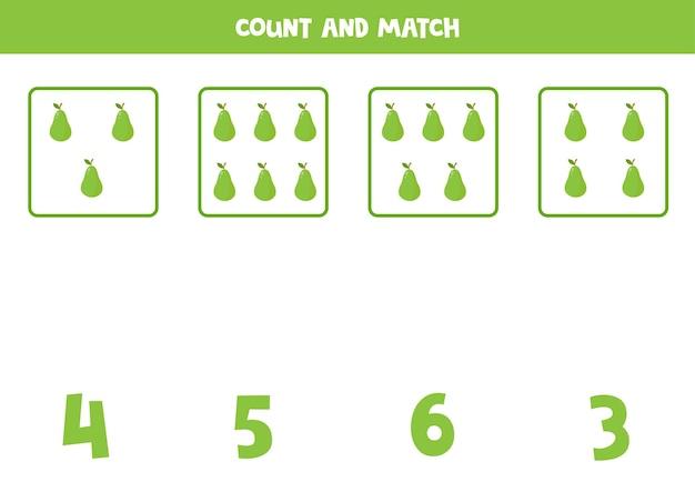 Tel alle peren en match met het juiste antwoord. educatief rekenspel voor kinderen.