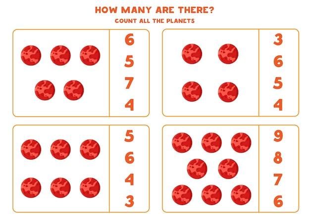 Tel alle planeten mars en schrijf het juiste aantal in het vak. telspel voor kinderen.