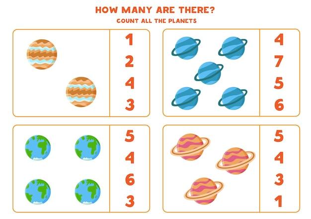 Tel alle planeten van het zonnestelsel en omcirkel het juiste antwoord. rekenspel voor kinderen.