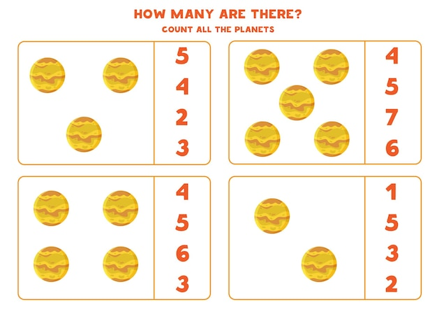 Tel alle planeten venus en schrijf het juiste aantal in het vak. telspel voor kinderen.
