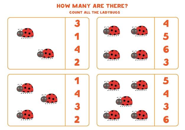 Tel alle schattige lieveheersbeestjes en omcirkel de juiste antwoorden. rekenspel voor kinderen.