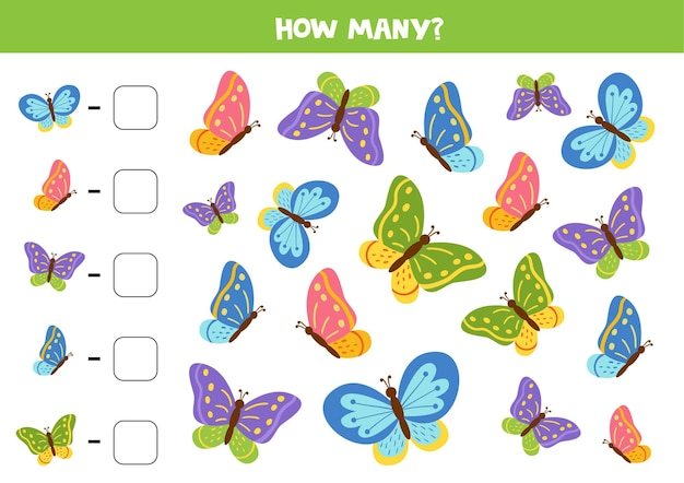 Tel alle vlinders en schrijf het nummer in een doos. rekenspel voor kinderen.