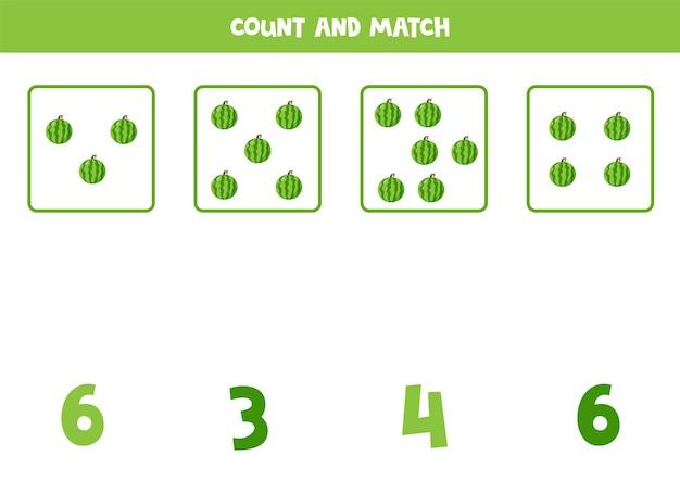 Tel alle watermeloenen en match met het juiste antwoord. educatief rekenspel voor kinderen.