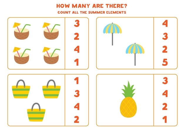 Tel alle zomerelementen en omcirkel de juiste antwoorden rekenspel voor kinderen