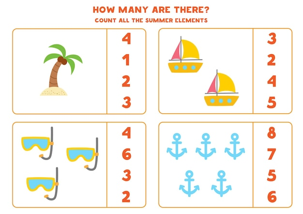 Tel alle zomerelementen en omcirkel de juiste antwoorden. rekenspel voor kinderen.
