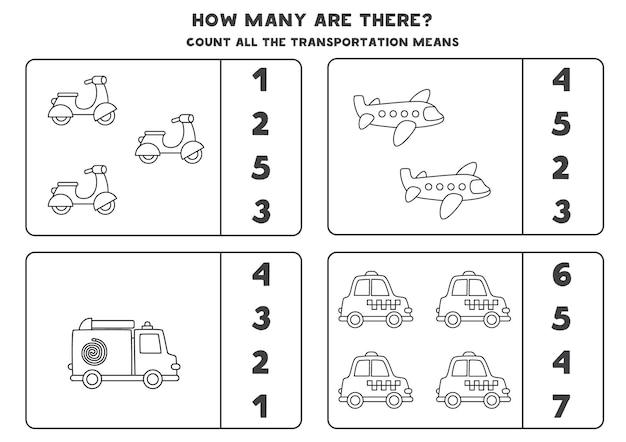 Tel alle zwart-wit transporten en omcirkel de juiste antwoorden. rekenspel voor kinderen.