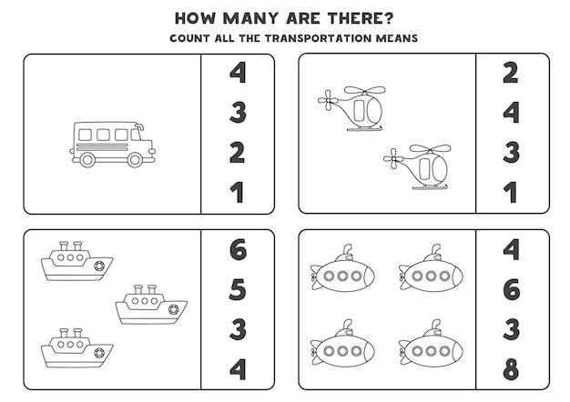Tel alle zwart-wit vervoermiddelen en omcirkel de juiste antwoorden. rekenspel voor kinderen.
