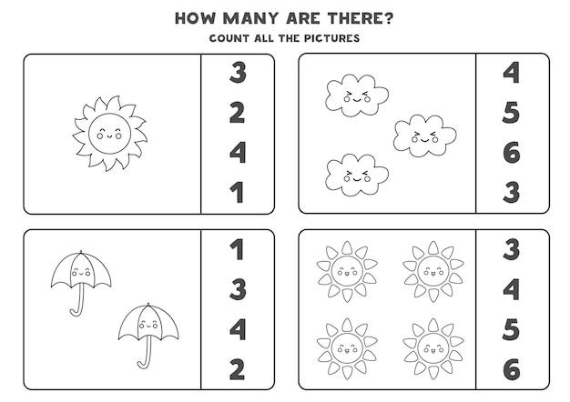 Tel alle zwart-wit weerelementen en omcirkel de juiste antwoorden. rekenspel voor kinderen.