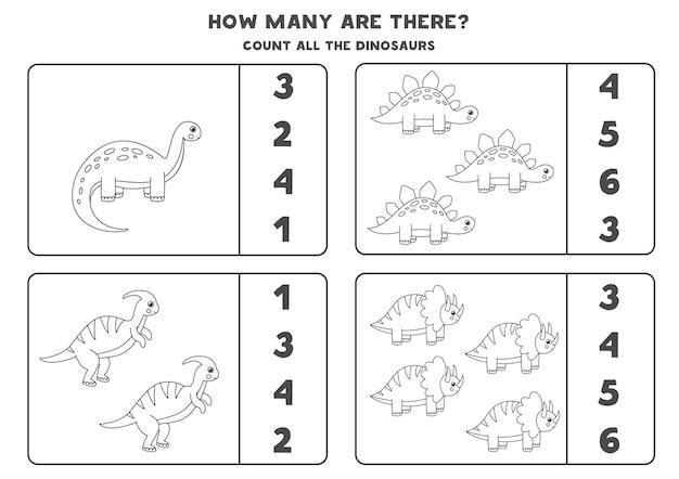 Tel alle zwart-witte dinosaurussen en omcirkel de juiste antwoorden. rekenspel voor kinderen.