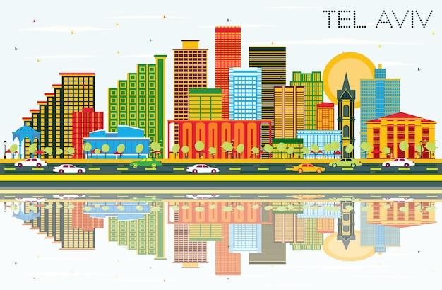 Tel aviv israël city skyline met kleur gebouwen, blauwe lucht en reflecties. vectorillustratie. zakelijk reizen en toerisme concept met moderne architectuur. tel aviv stadsgezicht met monumenten.
