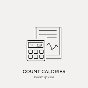 Tel callories icoon. moderne dunne lijn iconen set. platte ontwerp web grafische elementen.