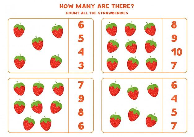 Tel de hoeveelheid cartoonaardbeien. educatief wiskundespel voor kinderen. afdrukbaar werkblad voor kleuters.