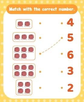 Tel en match getallen wiskunde werkbladsjabloon