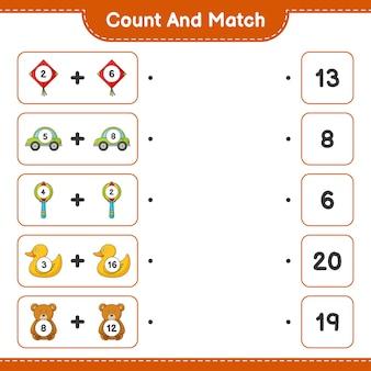 Tel en match het aantal kite car baby rammelaar rubber duck teddy bear