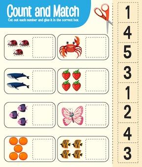 Tel en match spel, wiskunde werkblad