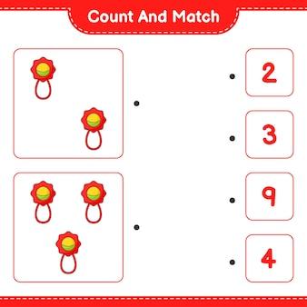 Tel en match tel het aantal baby rammelaar en match met de juiste nummers
