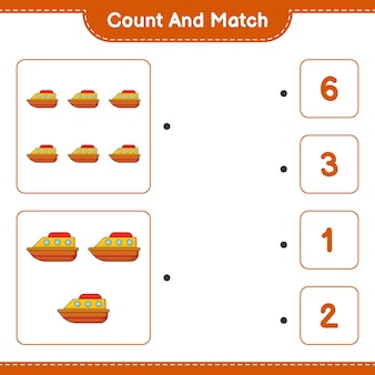 Tel en match tel het aantal boot en match met de juiste nummers