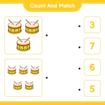 Tel en match tel het aantal drum en match met de juiste nummers