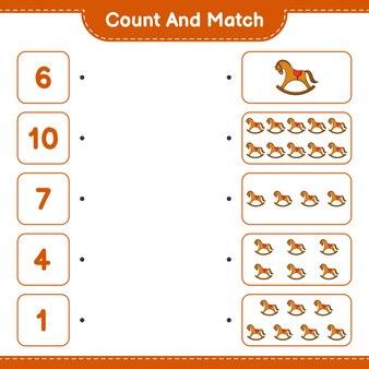 Tel en match, tel het aantal hobbelpaarden en match met de juiste nummers. educatief kinderspel, afdrukbaar werkblad, vectorillustratie