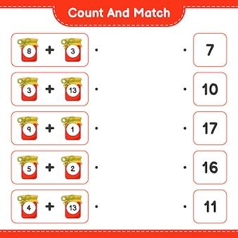 Tel en match tel het aantal jam en match met de juiste nummers educatief kinderspel