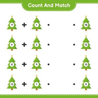 Tel en match, tel het aantal kerstbomen en match met de juiste nummers. educatief kinderspel