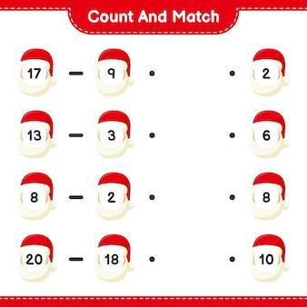 Tel en match, tel het aantal kerstmannen en match met de juiste nummers. educatief kinderspel