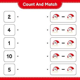 Tel en match, tel het aantal kerstmutsen en match met de juiste nummers. educatief kinderspel