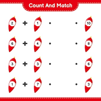 Tel en match, tel het aantal kerstverlichting en match met de juiste nummers. educatief kinderspel