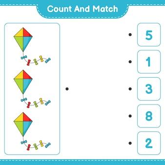 Tel en match, tel het aantal kite en match met de juiste nummers. educatief kinderspel, afdrukbaar werkblad, vectorillustratie