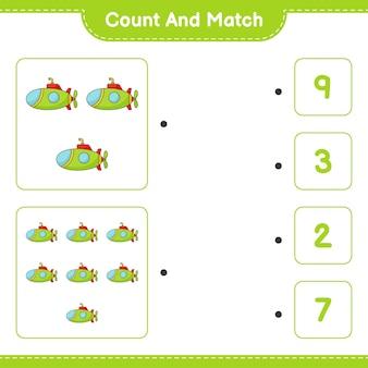 Tel en match tel het aantal onderzeeërs en match met de juiste nummers