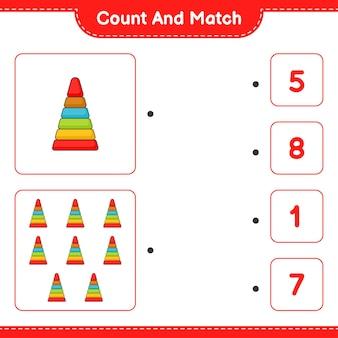Tel en match tel het aantal pyramid toy en match met de juiste nummers