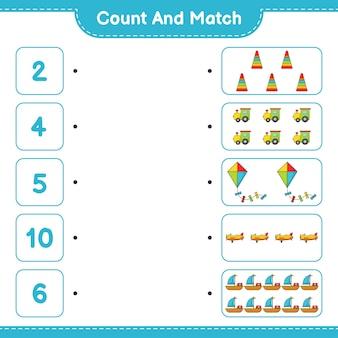 Tel en match tel het aantal pyramid toy train kite plane boat