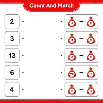 Tel en match, tel het aantal santa claus bag en match met de juiste nummers. educatief kinderspel
