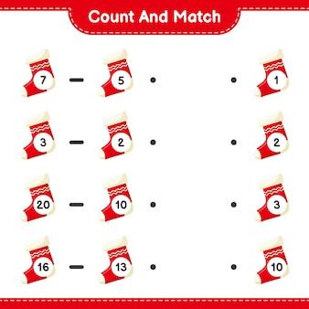 Tel en match, tel het aantal sokken en match met de juiste nummers. educatief kinderspel