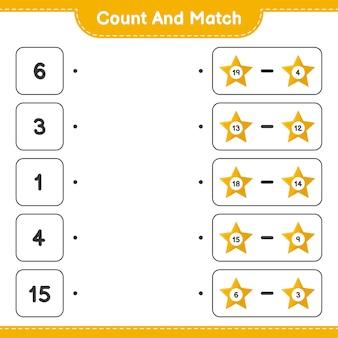 Tel en match, tel het aantal sterren en match met de juiste nummers. educatief kinderspel