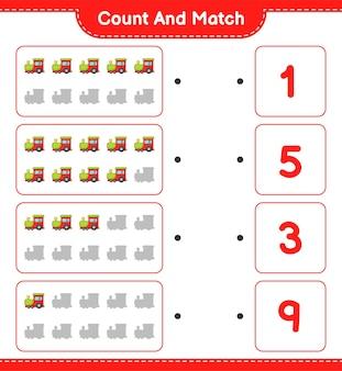 Tel en match, tel het aantal train en match met de juiste nummers. Premium Vector