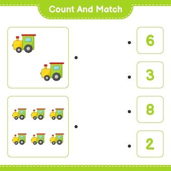 Tel en match tel het aantal trein en match met de juiste nummers