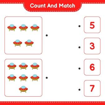 Tel en match tel het aantal ufo's en match met de juiste nummers educatief kinderspel