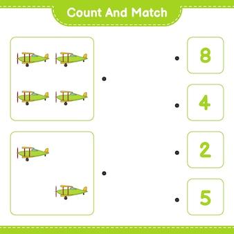 Tel en match tel het aantal vliegtuigen en match met de juiste nummers