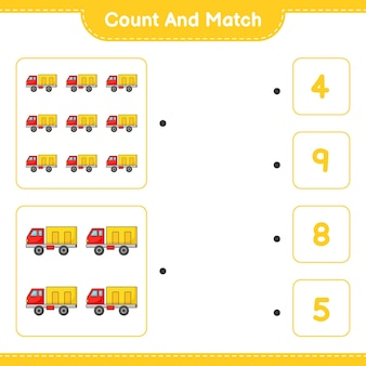 Tel en match tel het aantal vrachtwagens en match met de juiste nummers