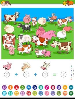 Tel en voeg spel voor kinderen toe met landbouwhuisdieren