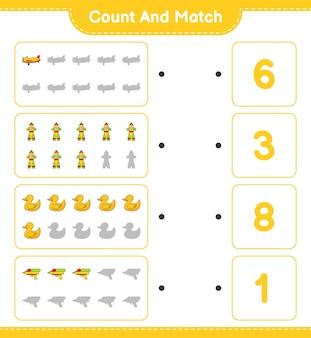 Tel het aantal plane rocket rubber duck water gun en match met de juiste nummers